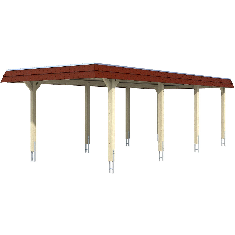 Skan Holz Carport Wendland Eiche hell 362 x 870 cm Alu-Dach Blende Rot | Baumarkt > Garagen und Carports | Skan Holz