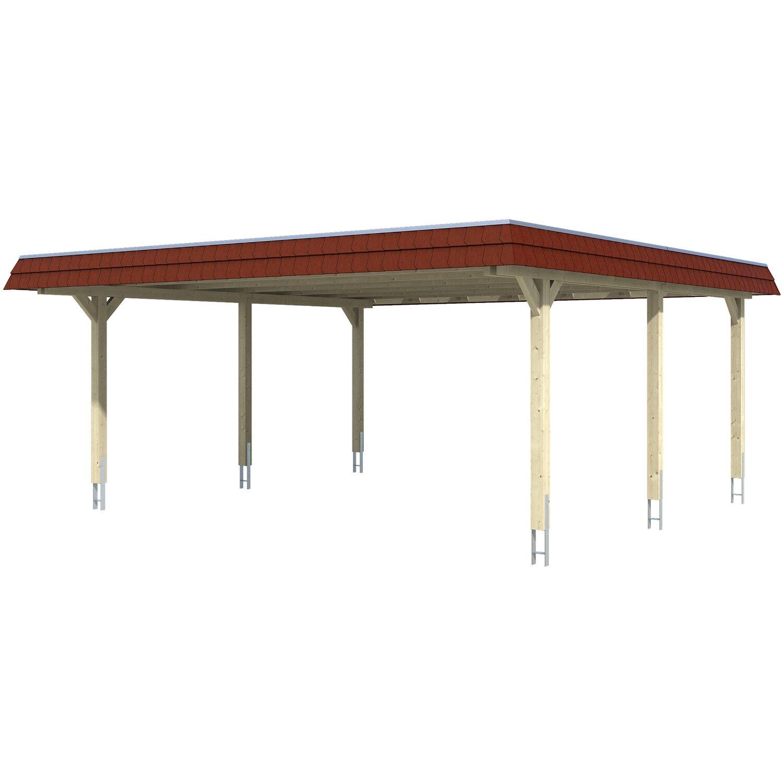 Skan Holz Doppelcarport Wendland Weiß 630 x 637 cm EPDM-Dach Blende Rot   Baumarkt > Garagen und Carports   Skan Holz