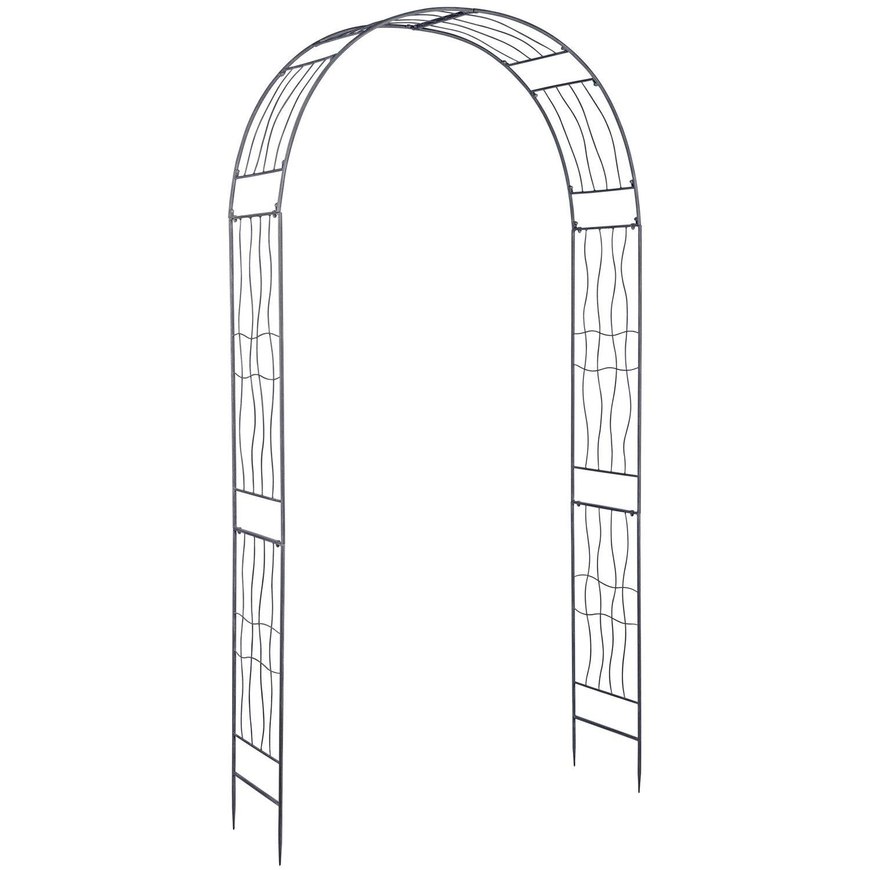 metall rosenbogen 220 cm x 113 cm x 32 cm grau kaufen bei obi. Black Bedroom Furniture Sets. Home Design Ideas