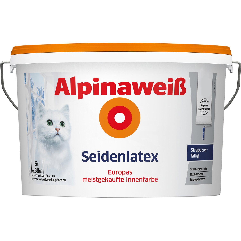 Alpinaweiß Seidenlatex Innenfarbe 5 l