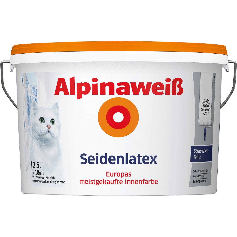 Alpinaweiß Seidenlatex Innenfarbe 2,5 l