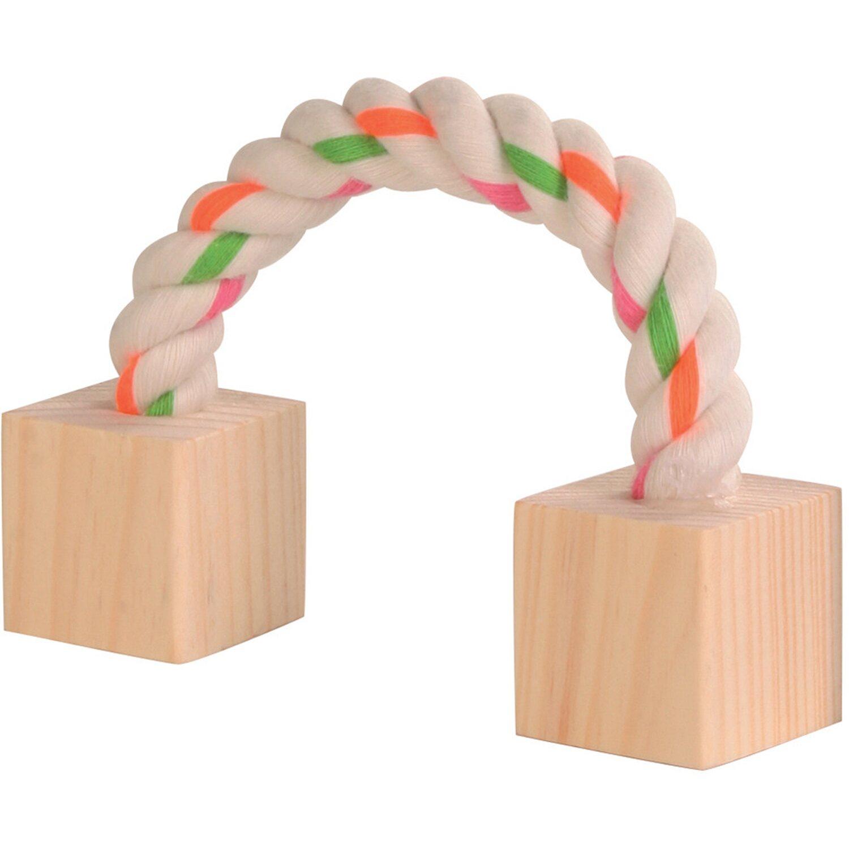 Trixie Baumwollspielseil mit Holz Kleintiere 20 cm