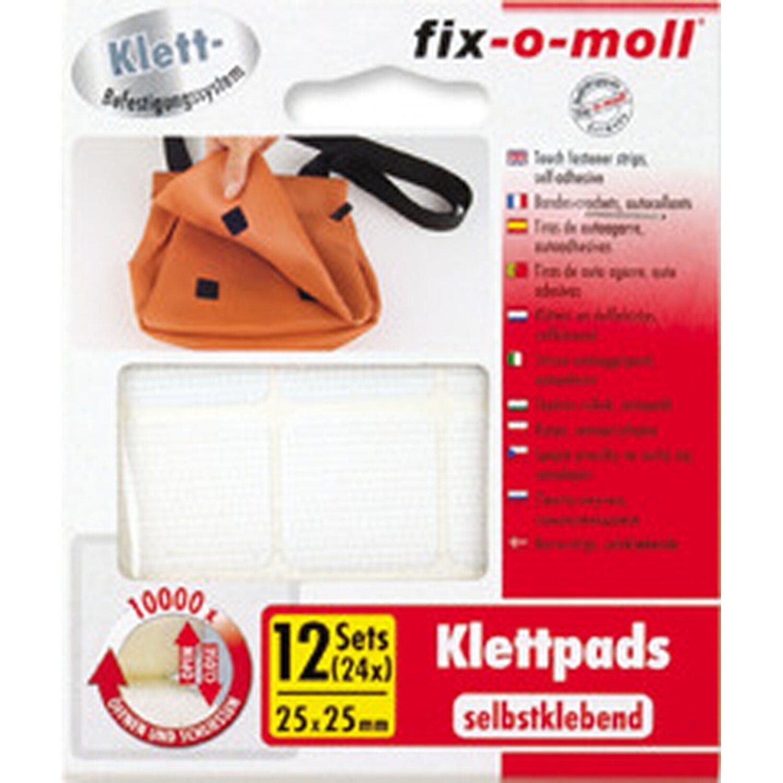 fix o moll fix-o-moll Klettpads selbstklebend weiß 25 mm x 25 mm 4 Sets