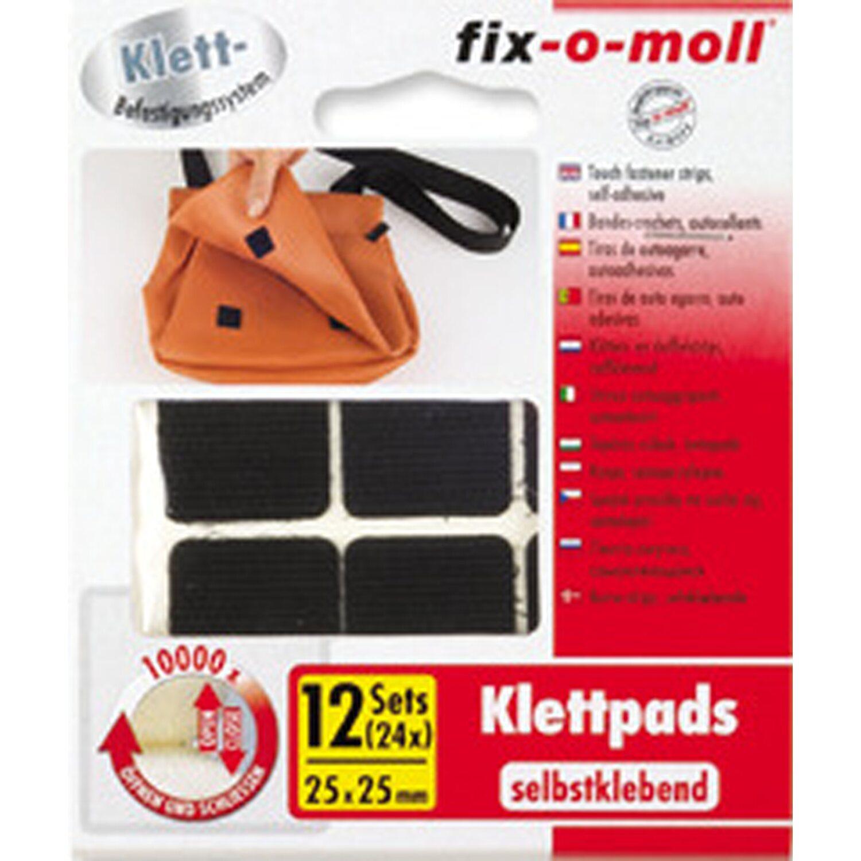 fix o moll fix-o-moll Klettpads selbstklebend Schwarz 4 Sets 25 mm x 25 mm