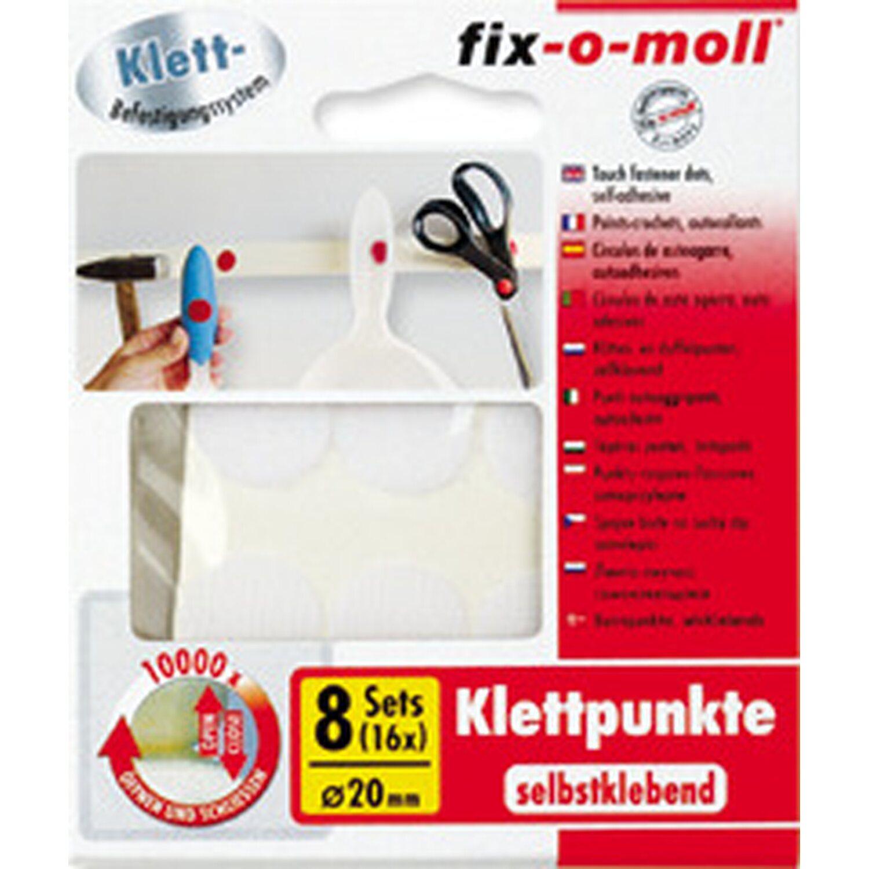 fix o moll fix-o-moll Klettpunkte selbstklebend Weiß 8 Sets 20 mm