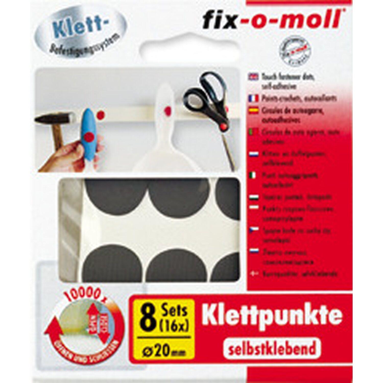 fix o moll fix-o-moll Klettpunkte selbstklebend Schwarz 8 Sets 20 mm