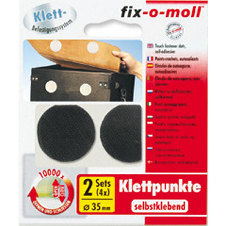 fix o moll fix-o-moll Klettpunkte selbstklebend Schwarz 2 Sets 35 mm