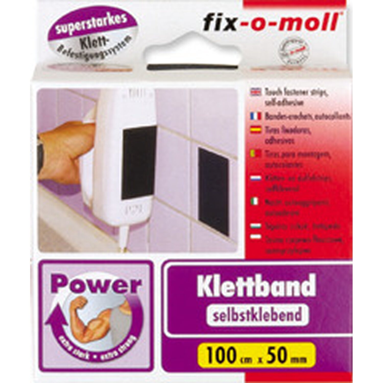 fix o moll fix-o-moll Power-Klettband selbstklebend Schwarz 1 m x 50 mm