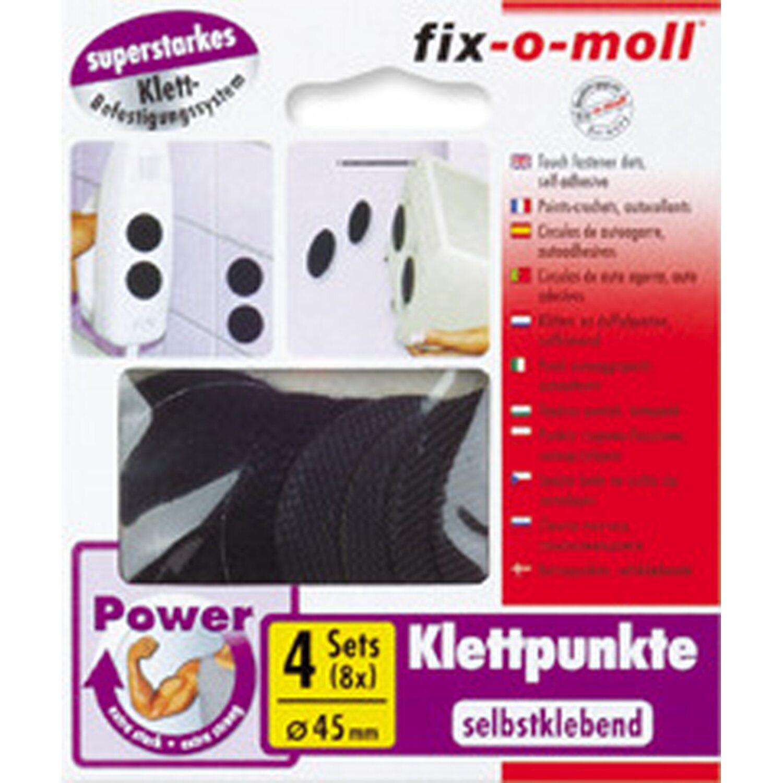 fix o moll fix-o-moll Power Klettpunkte selbstklebend Schwarz 4 Sets 45 mm