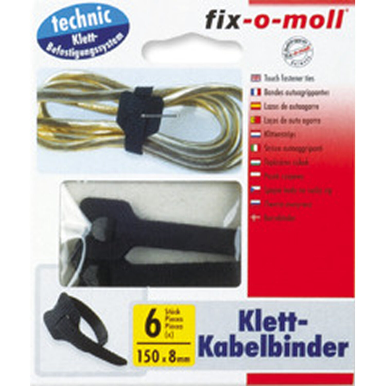 fix o moll fix-o-moll Klett-Kabelbinder Schwarz 6 Stück 15 cm x 8 mm