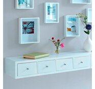 Best of home Wandregal mit 4 Schubladen 15 x 80 x 25 cm weiß