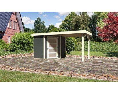 Karibu Holz Gartenhaus Linkobing 3 Terragrau Bxt 433x213 Davon 224 Cm Anbaudach Kaufen Bei Obi