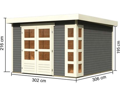 Karibu Holz Gartenhaus Solve 6 Terragrau Bxt 298 Cm X 302 Cm Kaufen Bei Obi