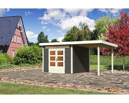Karibu Holz Gartenhaus Kumla 6 Terragrau Bxt 506 X 274 Davon 236 Cm Anbaudach Kaufen Bei Obi