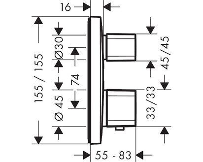 Hansgrohe Ecostat E Thermostat Unterputz für 2 Verbraucher