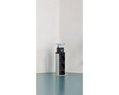 Brennenstuhl Steckdosenleiste Tower Power 3-fach versenkbar USB Alu/Schwarz  2 m