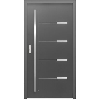 Aluminium-Haustür 110 cm x 210 cm ThermoSpace OS9A Anthrazit Anschlag Links