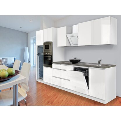 respekta premium k chenzeile grifflos 345 cm wei hochglanz wei kaufen bei obi. Black Bedroom Furniture Sets. Home Design Ideas