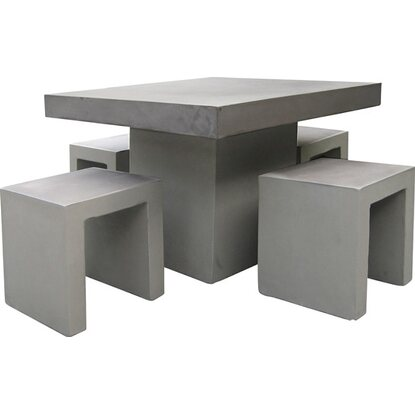 gartenm bel gruppe rockall 5 tlg beton glasfaser 100 cm x. Black Bedroom Furniture Sets. Home Design Ideas