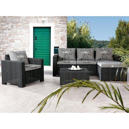 Gartenm bel lounge gruppe kenia 4 tlg graphit grau kaufen for Gartenmobel lounge gruppe