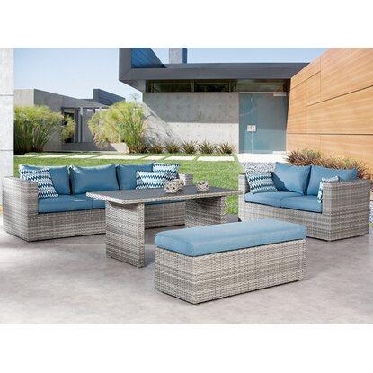 gartenm bel lounge gruppe curacao 4 tlg warm grey blau On gartenmobel lounge gruppe
