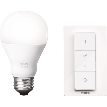 Philips Hue LED-Lampe E27 Weiß mit kabellosen Dimming-Kit EEK: A+