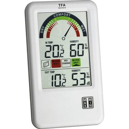 TFA Digitales Funk-Thermo-Hygrometer Bel-Air Silber
