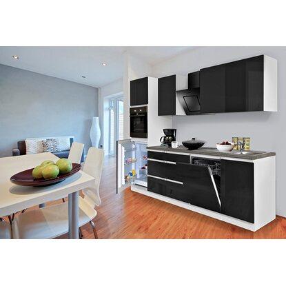 respekta k chenzeile 280 cm grifflos schwarz hochglanz wei kaufen bei obi. Black Bedroom Furniture Sets. Home Design Ideas