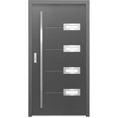 Sicherheits-Haustür ThermoSpace Madrid RC2 110 x 210 cm Anthrazit Anschlag Links