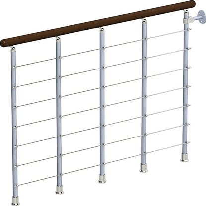 Balustrade-Set Ring Tube/Long Tube 120 cm Grau-Buche dunkel