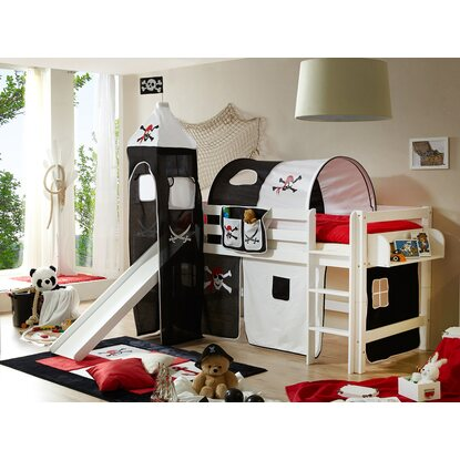 hochbett mit rutsche und turm toby buche wei pirat schwarz wei kaufen bei obi. Black Bedroom Furniture Sets. Home Design Ideas