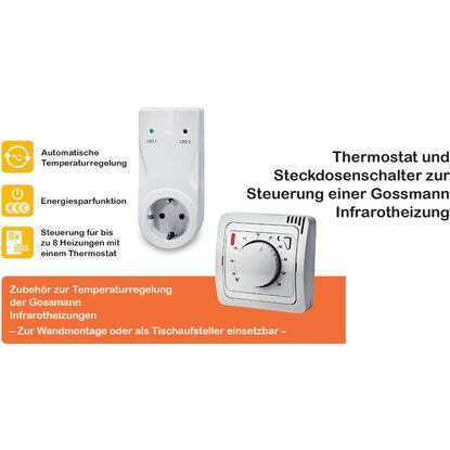 gossmann infrarotheizung classic 270 w mit thermostat set kaufen bei obi. Black Bedroom Furniture Sets. Home Design Ideas