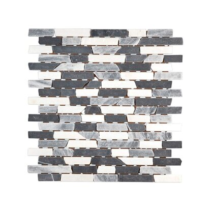 Marmormosaik Black-Grey-White-Mix Brick 30,5 cm x 30,5 cm