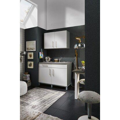 menke k chenzeile rack time single 120 cm wei hochglanz graphit kaufen bei obi. Black Bedroom Furniture Sets. Home Design Ideas