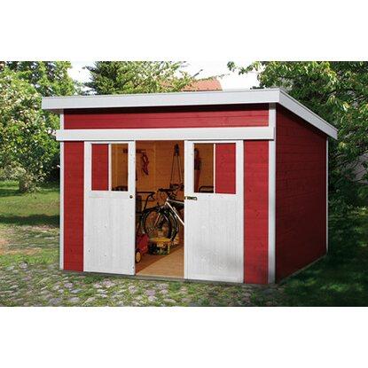 weka holz gartenhaus turin b schwedenrot 295 cm x 299 cm. Black Bedroom Furniture Sets. Home Design Ideas