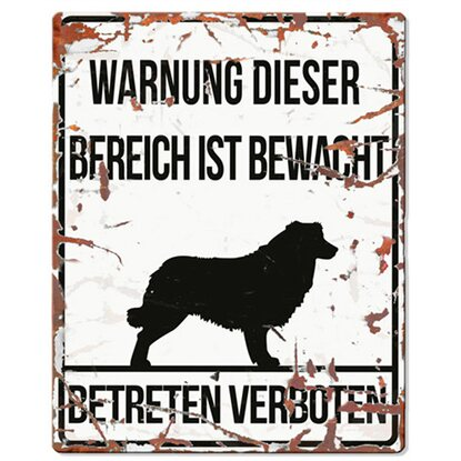 Warnschild Collie Weiß 20 cm x 25 cm