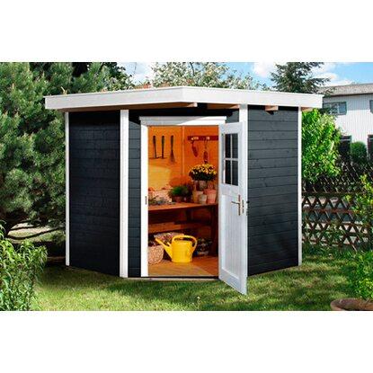 weka holz gartenhaus angolo anthrazit a 209 cm x 205 cm kaufen bei obi. Black Bedroom Furniture Sets. Home Design Ideas