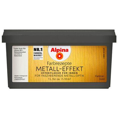 Alpina farbrezepte metall effekt gold 1 l kaufen bei obi for Wandfarbe gold farbe wandgestaltung