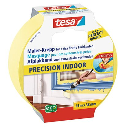 Tesa Maler-Krepp Precision Indoor Gelb 25 m x 38 mm