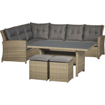 Esstisch-Lounge-Gruppe Vermont Ecke Links Forest Jungle 5-teilig