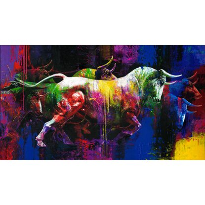 Giclèe Colourful Bulls 160 cm x 90 cm