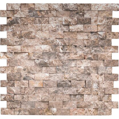 Marmormosaik Marron Emperado Brick Natural 32 cm x 32 cm