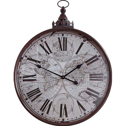 Best of home Metall-Wanduhr Weltkarte 80 cm x 60 cm