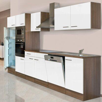 respekta küchenzeile kb340eywmigke 340 cm weiß-eiche york