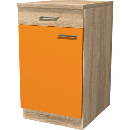 Flex-Well Classic Unterschrank Flexia 50 cm Orange/Weiß-Sonoma Eiche