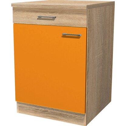 Flex-Well Classic Unterschrank Flexia 60 cm Orange/Weiß-Sonoma Eiche