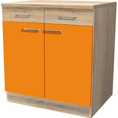 Flex-Well Classic Unterschrank Flexia 80 cm Orange/Weiß-Sonoma Eiche