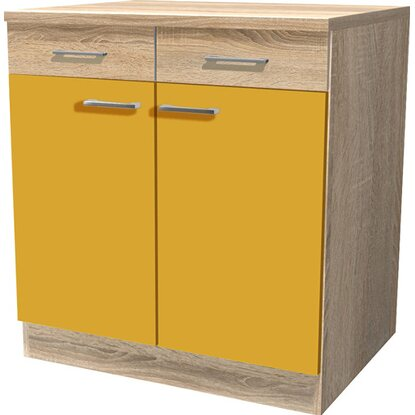 Flex-Well Classic Unterschrank Flexia 80 cm Curry/Weiß-Sonoma Eiche