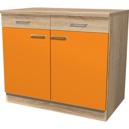 Flex-Well Classic Unterschrank Flexia 100 cm Orange/Weiß-Sonoma Eiche