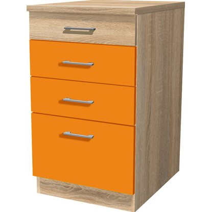 Flex-Well Classic Schubkastenschrank Flexia 50 cm Orange/Weiß-Sonoma Eiche
